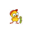 cute baby chicken boy character with a skateboard vector image