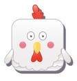 cute square hen chicken or cock vector image