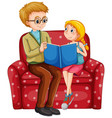dad and his daughter are sitting sofa and reading vector image