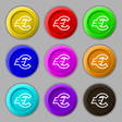 Euro EUR icon sign symbol on nine round colourful vector image