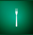 fork icon isolated on green background vector image vector image
