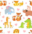 happy african animals family seamless pattern vector image vector image