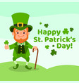 happy st patricks day with leprechaun vector image vector image