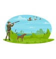 hunter and hunt for ducks poster design vector image vector image