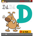 letter d with cartoon dog vector image vector image