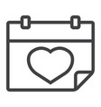 lovely calendar line icon valentines day vector image