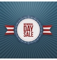 memorial day sale greeting emblem and ribbon vector image vector image