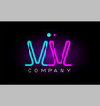 neon lights alphabet vv v v letter logo icon vector image vector image