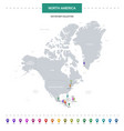 north america map with location pointer marks vector image