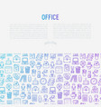 office concept with thin line icons vector image vector image