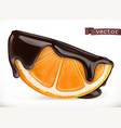 orange in chocolate 3d realistic icon vector image vector image