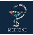 Pharmacy symbol with medical flat icons vector image vector image