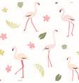 pink flamingo birds tropical greenery exotic vector image vector image