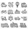 public transportation and transport icons set vector image