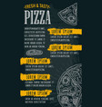 restaurant or cafe menu pizza with text vector image vector image