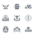 salon logo set simple style vector image vector image