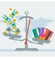 scales - credit card or money vector image vector image