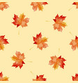 Seamless pattern with watercolor autumn leaves
