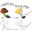 set of doodle yoga girl vector image