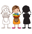 Sketches of a young girl with a basket of fruits vector image vector image
