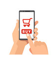 smartphone with shopping cart on a screen vector image vector image