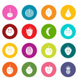 smiling fruit icons many colors set vector image vector image