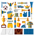 soccer kit with training fan and playing vector image vector image