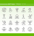 sprout simple black line icons set vector image vector image