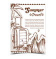 summer travel suitcase on wheels poster vector image vector image