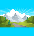 travel day cartoon landscapen mountain fir road vector image vector image