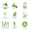 Vegan and vegetarian icons vector image vector image
