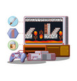 video game scene interface vector image