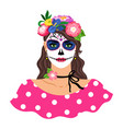 woman with sugar skull make up vector image vector image