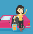 young asian woman traveling by car vector image vector image
