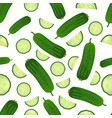 seamless pattern of fresh cucumbers vegetable vector image