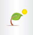 3d eco bended tree and sun icon vector image