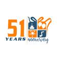 51 year gift box ribbon anniversa vector image vector image