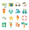 Beach Icon Flat Set vector image