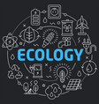 black line flat circle ecology vector image