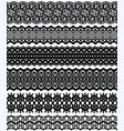 blockprint wide lace borders set black design vector image vector image