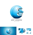 Blue metal sphere 3d logo design vector image vector image
