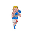 Boxer Pose USA Flag Etching vector image vector image