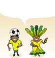 Brazilian cartoon couple bubble dialogue vector image vector image