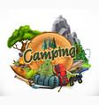 camping 3d emblem vector image