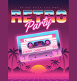 Cassettes poster retro disco party 80s 90s