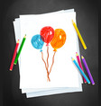 child drawing balloons vector image vector image