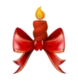 Christmas candle combined with red bow vector image