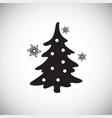 christmas tree with snowflakes on white background vector image vector image