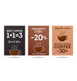 coffee discount set flyer voucher with coffee vector image vector image