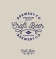 craft beer brewing company logo pub emblem vector image vector image